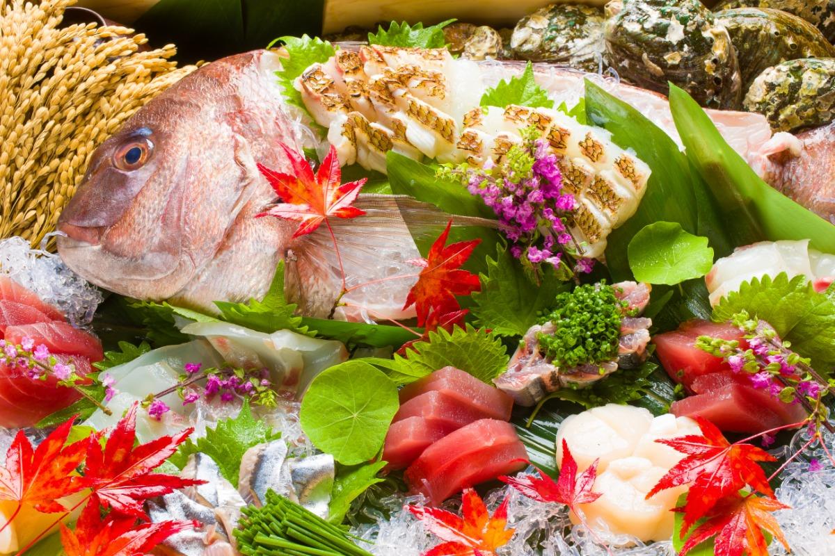 お刺身の盛り合わせ 新鮮なネタがテーブルを華やかに彩ります。