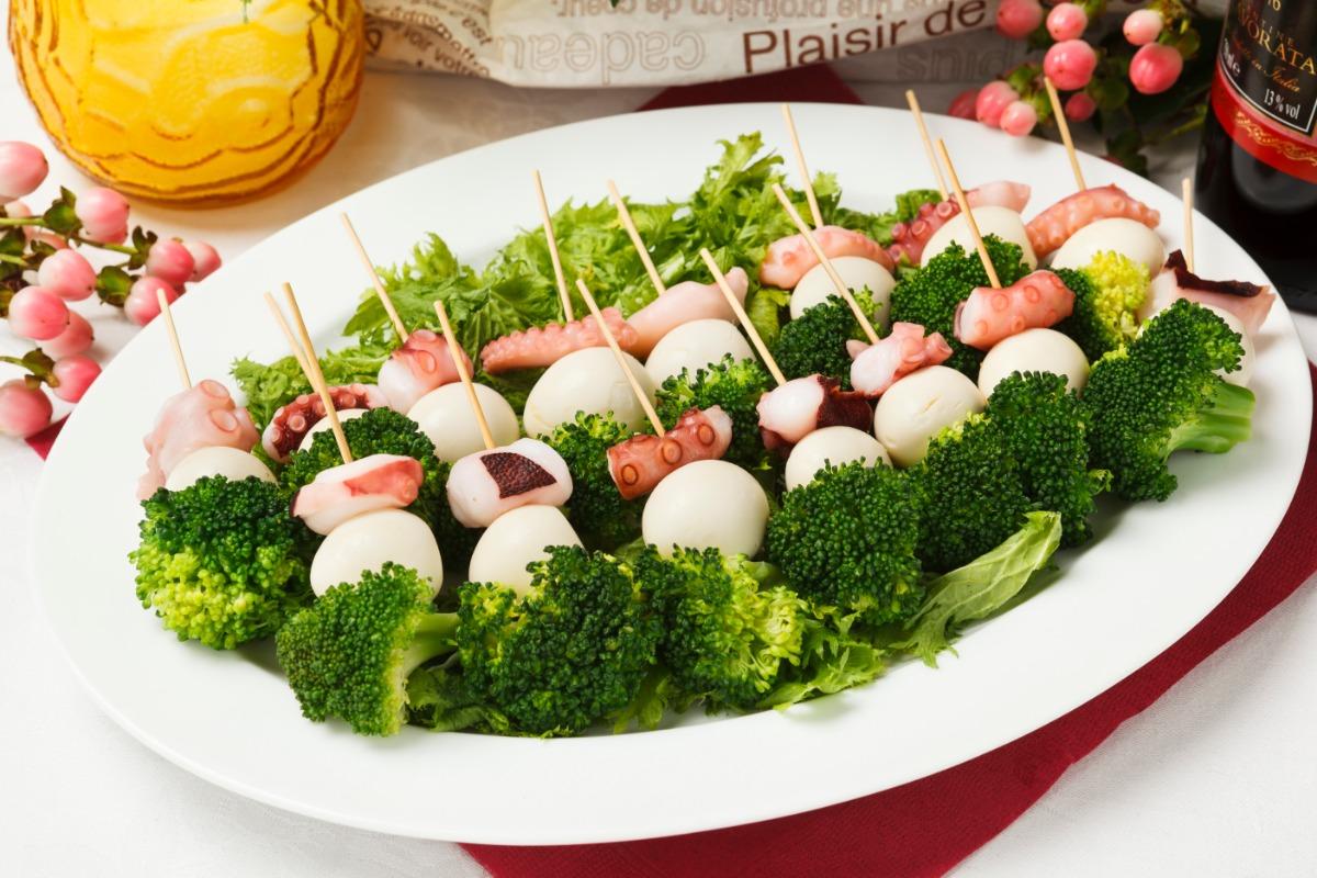 タコとブロッコリーうずら玉子のピンチョス サラダ感覚で食べられる一品