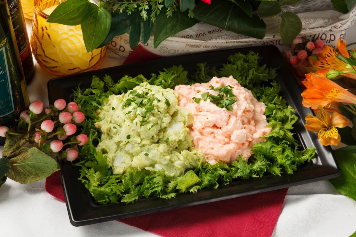 2種のポテトサラダ~ジェノベーゼと明太子~ 爽やかな大人仕立てのジェノベーゼと、こっくりピリ辛な明太子のアレンジポテトサラダ。